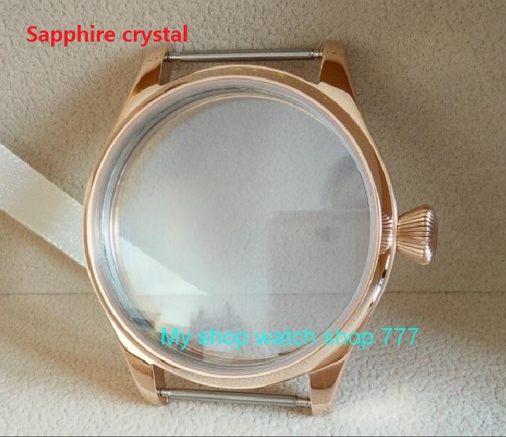Sapphire crystal PARNIS 44mm 316L Stainless steel watch cases electroplated 18K rose gold fit ETA 6497