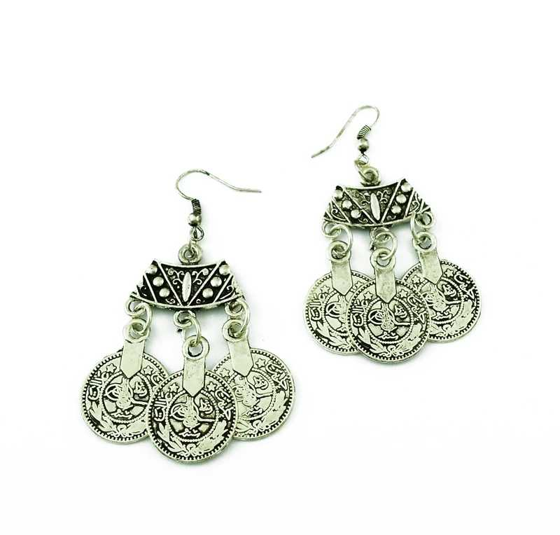 Turkey Silver Coin Tassel Necklace & Earring Bohemian Gypsy Coin Jhumka Ethnic Tribal Stone Belly Dance Wear Indian Jewelry Sets