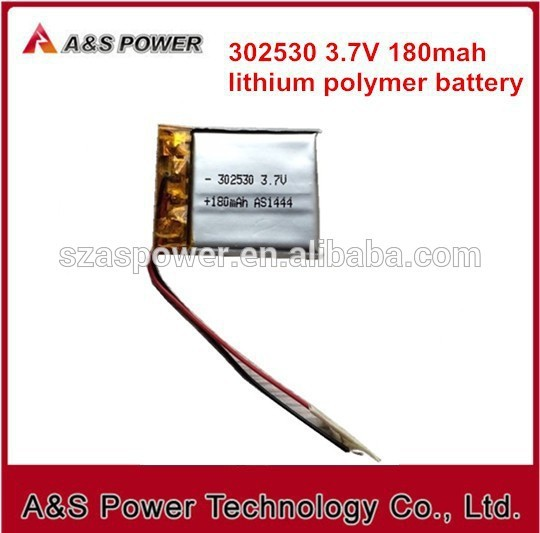 Rechargeable <font><b>302530</b></font> Lithium battery 3.7v 180mAh for digital lipo battery image