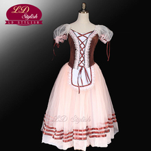 Brown Giselle Ballet Tutu Dress  Peasant Costumes For Girls Romantic Children LD0003D