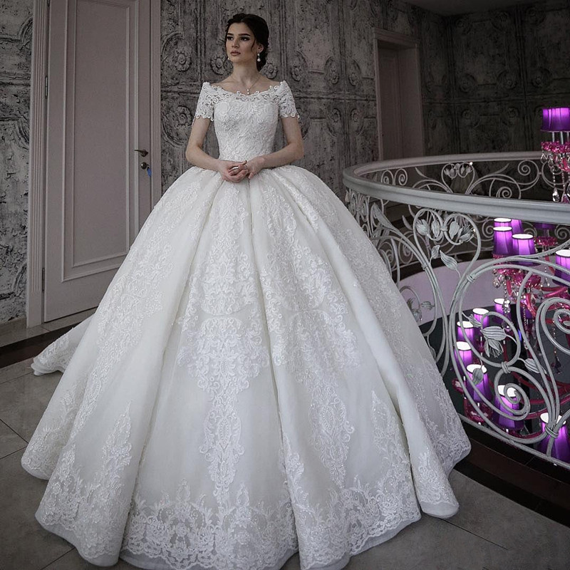 2019 Dubai Arabic Wedding Dresses Lace Appliques Off: 2019 Luxury White Lace Appliques Ball Gowns Wedding Dress