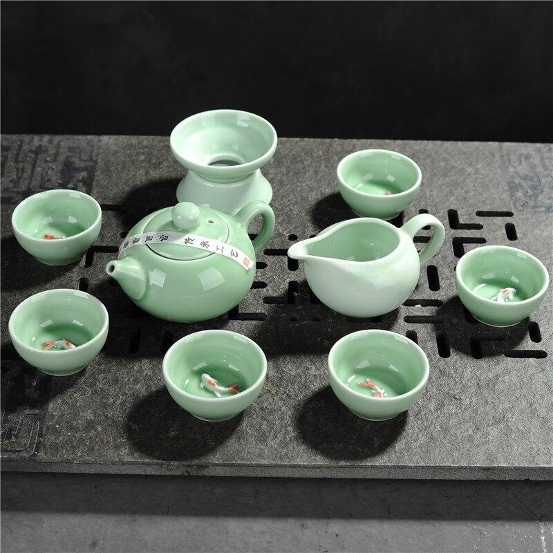 Nouveau 7 pièces/ensemble celadon glaçure carpe colorée chinois kung fu thé cérémonie tasse avec filtre porcelaine voyage théière avec tasse thé ensembles