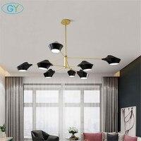 Black gold candelabro chandelier, modern acrylic hat shade lustre hanging lamp, industrial E14 lustre cristal kronleuchter