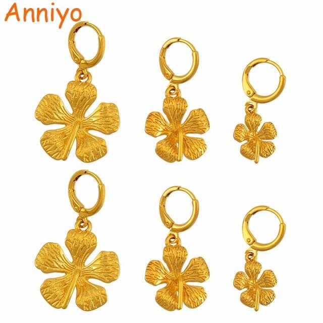 Anniyo Guyana Flower Earrings Kiribati Earring Gold Color Plant Micronesia Islands Marshall Jewelry For Women S