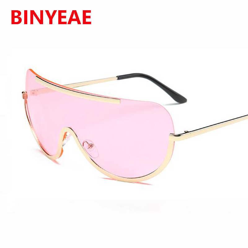 2e676acf9b ... oversized shield clear sunglasses women big brand vintage transparent  eyewear metal frame sun glasses tint color ...