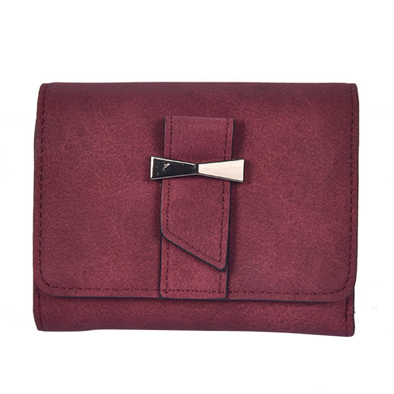 Ms Matte PU Leather Wallet Women Vintage Short Sweet Girl Bow Purse 3 Fold Lady Coin Bag Card Holder Retro Buckle Solid Wallets retro style matte pu leather change coin wallet purse brownish red
