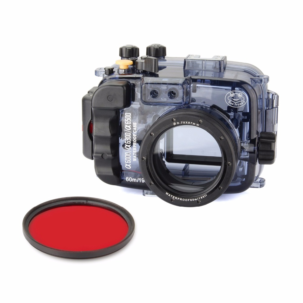 Seafrogs 40m/130ft Waterproof Underwater Camera Housing Case for Sony Alpha A6000 A6300 A6500 (Housing + Cover + Red Filter)