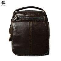 HOT sale!!  Genuine Leather Bags Men High Quality Messenger Bags Small Travel Dark Brown Crossbody Shoulder Bag For Men