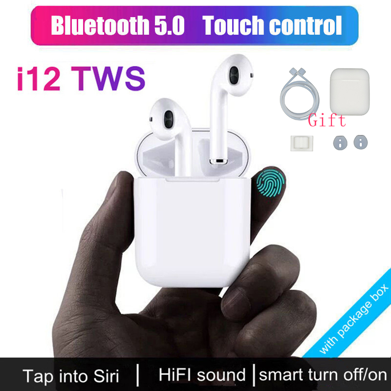 $28.08 i12 Mini TWS Touch Bluetooth 5.0 Earphone +Cover Case 3D Stereo Headset Wireless Earbuds for iPhone For Samsung