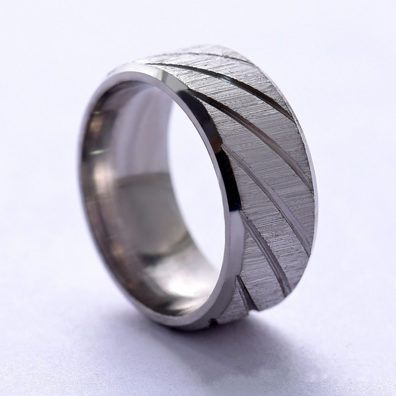 Купить с кэшбэком Fashion Stainless Steel Rings Blue Black Gold Silver Color Lines Trendy Wedding Rings For Men Women Party New Jewelry Gifts