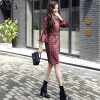 WYHHCJ Autumn Winter New Sim Women 2017 Vestidos Ladies Casual Plaid Derss Elegant Flar Sleeve Wear