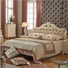 modern european solid wood bed Fashion Carved  leather  french bedroom furniture 10237 furniture bedroom double box solid wood simple bed