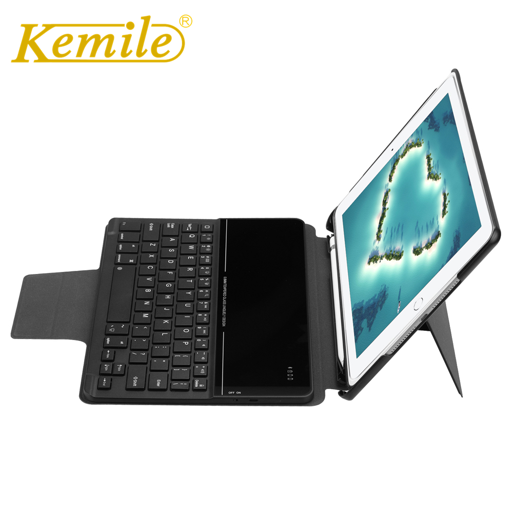 Kemile Case For Ipad 2018 9.7 inch Wireless Bluetooth Keyboard W Pencil Holder Cover For New ipad 2018 2017 9.7 A1893 A1954 Case kemile wireless bluetooth keyboard for ipad pro 9 7 a1673