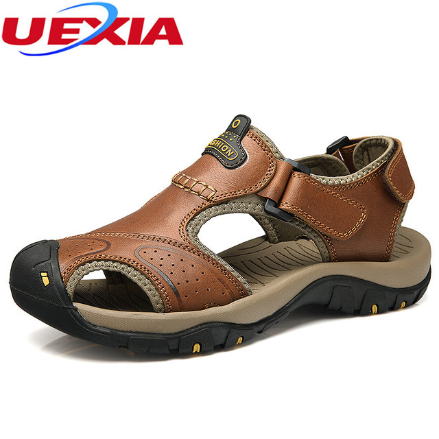 ccca9a51ae602 New Fashion Luxury Full Grain Leather Men Sandals Handmade Men Shoes Summer  Soft Leather Shoes Top