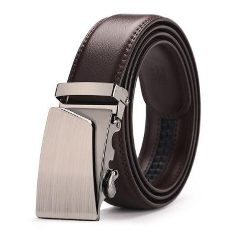 High Quality Genuine Leather   Belts   Men Brand Automatic Ratchet Buckle   Belt   Male 110-130cm Long Black Brown Men   Belts   B15F
