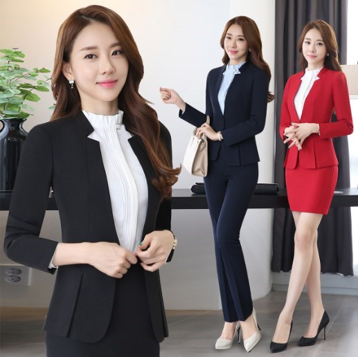 77a8e5d87d37f 2 Piece Set Outfit Office Ladies Business Skirt Suits For Women Black Blue  Gray Red Slim