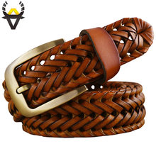 2016 New Braided Belt Man Fashion Mens belts luxury genuine leather Good Cow second layer skin straps men for Jeans girdle Male(China)