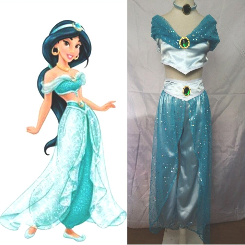Halloween Costumes For Woman Custom Made Holloween Adult Princess Jasmine Cosplay Dress Princess Jasmine Costume For Lady Girl Принцесса Жасмин