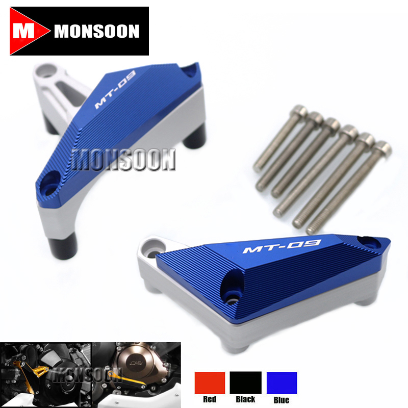 For YAMAHA FZ-09/MT-09 MT09 2014-2015 Motorcycle Engine Protector Guard Cover Frame Slider Blue engine bumper guard crash bars protector steel for yamaha mt09 mt 09 fz07 fz 09 2014 2016 2014 2015 2016 motorcycle