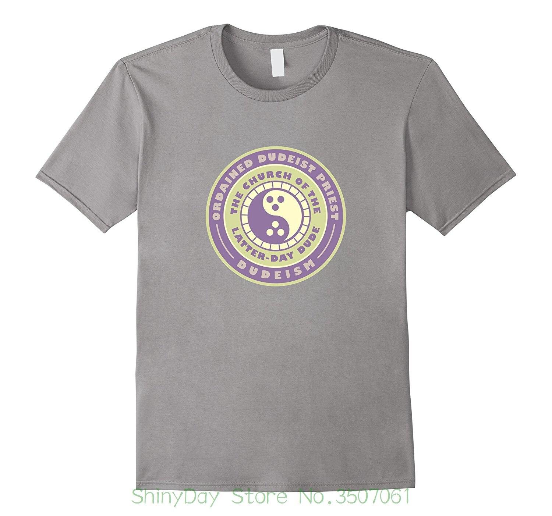 Printed Men T-shirt Short Sleeve Funny Tee Shirts Ordained Dudeist Priest Emblem Tee Shirt