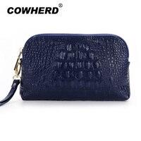 New 2016 Women 100 Genuine Cow Leather Casual Clutch Wristlet Bag Fashion Alligator Purse Coin Bag