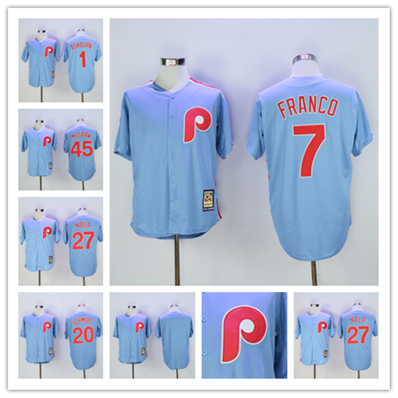 MLB Mens Philadelphia Phillies Throwback Jersey Rhys Hoskins Maikel Franco Aaron Nola Scott Kingery Jersey
