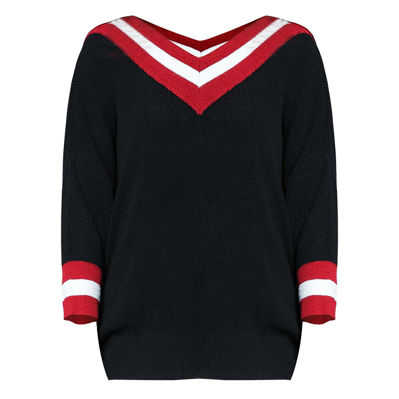 Fashionnable red white striped black loose sweater 5