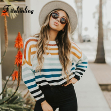 Fitshinling Rainbow Striped Sweater Woman Winter 2019 Autumn Pullover knitted Jumper Female New Sweaters For Women Pull Femme sweaters modis m182w00296 jumper sweater clothes apparel pullover for female for woman tmallfs