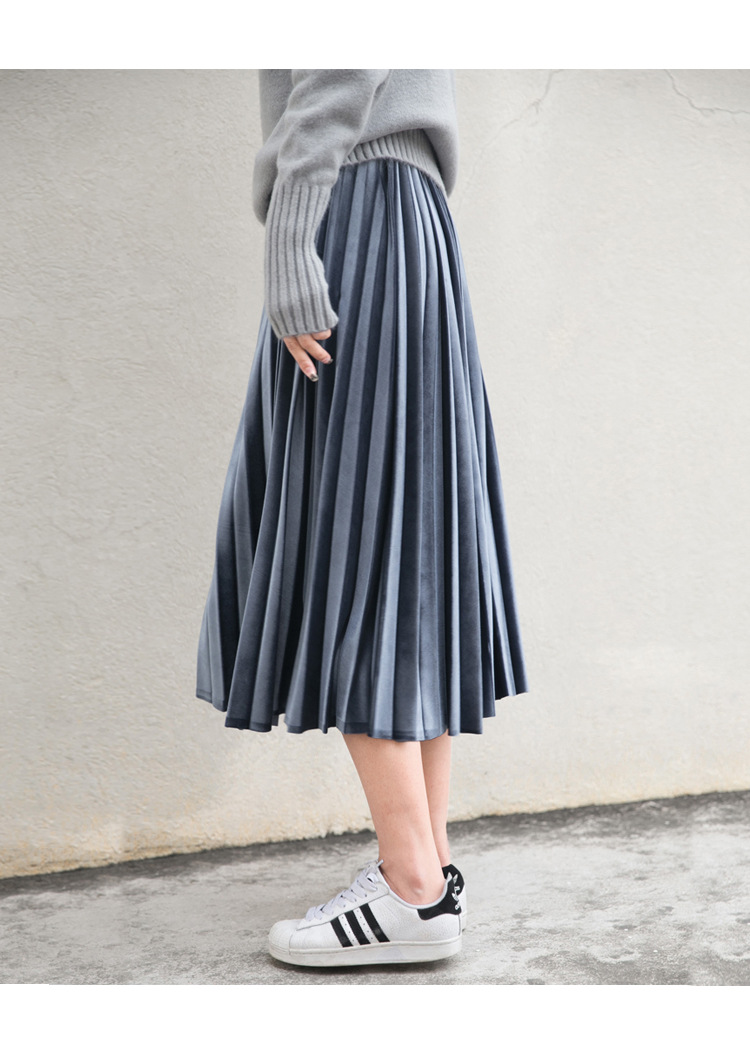 Women Long Metallic Silver Maxi Pleated Skirt Midi Skirt High Waist Elascity Casual Party Skirt 6