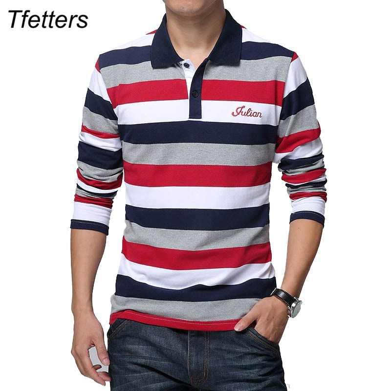TFETTERS otoño hombres Camiseta de rayas patrón cartas imprimir Camiseta de manga  larga da vuelta- 58a8d3d1b07