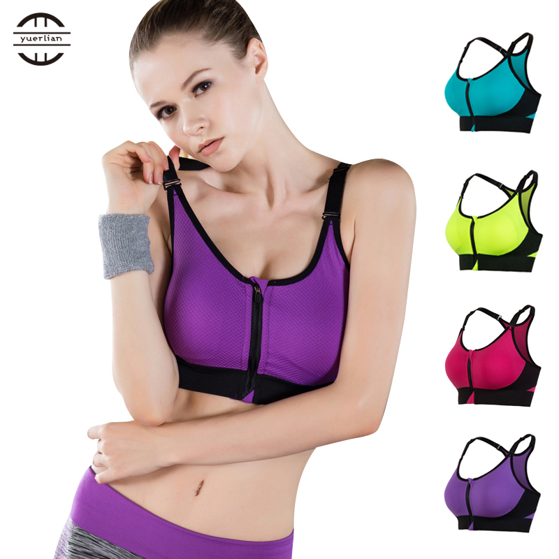 New Front Zipper Breathable Women Yoga Bra Push Up Seamless Underkläder Tank Top Gym Fitness Kläder Jogging Yoga Skjortor Sport Bra