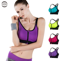 New Front Zipper Breathable Women Yoga Bra Push Up Seamless Underwear Tank Top Gym Fitness clothes Jogging yoga shirts Sport Bra