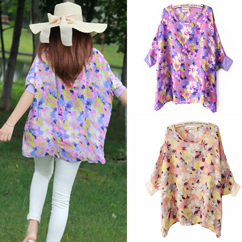 Summer Loose Smock Round neck Chiffon Blouses Slim Women Chiffon Blouse Wear Floral Printing shirt Women Bat sleeves