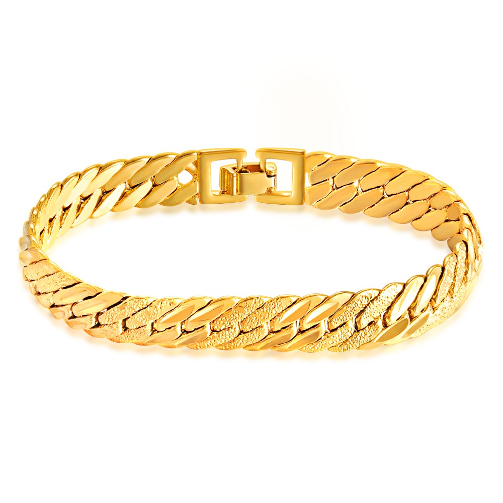 Europe and the United States punk gold bracelet man polishing 21 cm length of 11 mm wide ...