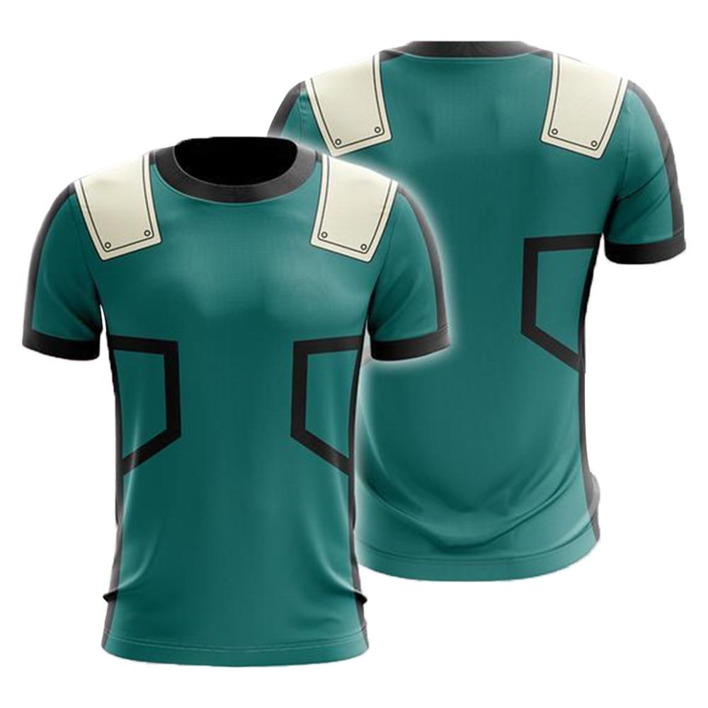 My Hero Academia T-shirts Midoriya Izuku 3D Printing School College Style Boku no Hero Academia Blue T Shirt Tops
