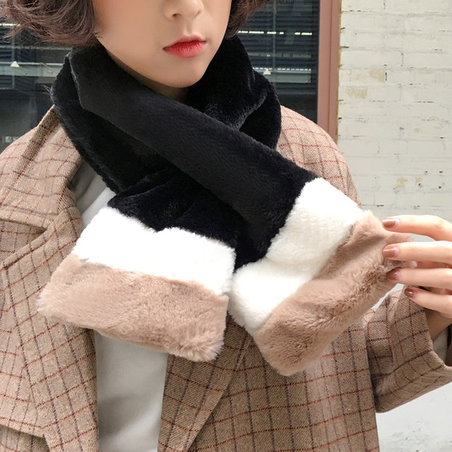 US $6 65 28% OFF|2019 Winter Fashion Woman Patchwork Girl Short Scarf  Pashmina Cashmere Wrap Shawl Fleece Comfortable Neck Warmer Christmas  Gift-in