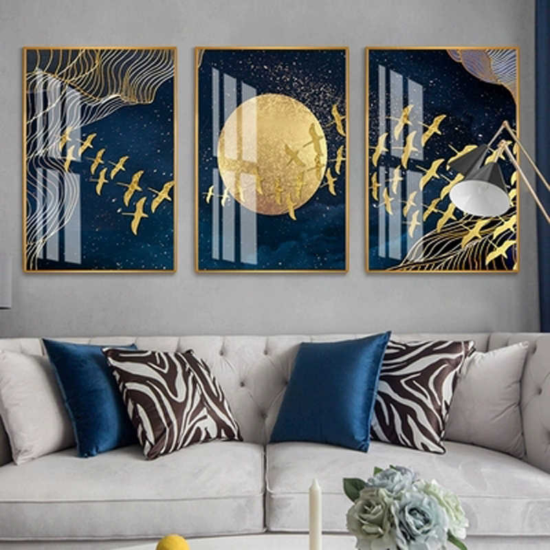 New Modern Abstract Gold Foil Blue Line Flying Bird Moon Living Room Nordic Decorative Painting Home Decor Wall Art Poster