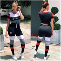 Women Summer Sport Stretch Leggings 2 Two Piece Sets Short Sleeve Bandage T Shirts Elastic Waist Skinny Pencil Pants Brand SETS