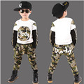 2016 Boy Sport Print Letter Camouflage Clothes Set Long Sleeve Top+ Pants Kid Autumn Spring School Hip Hop Clothes Boy Clothes