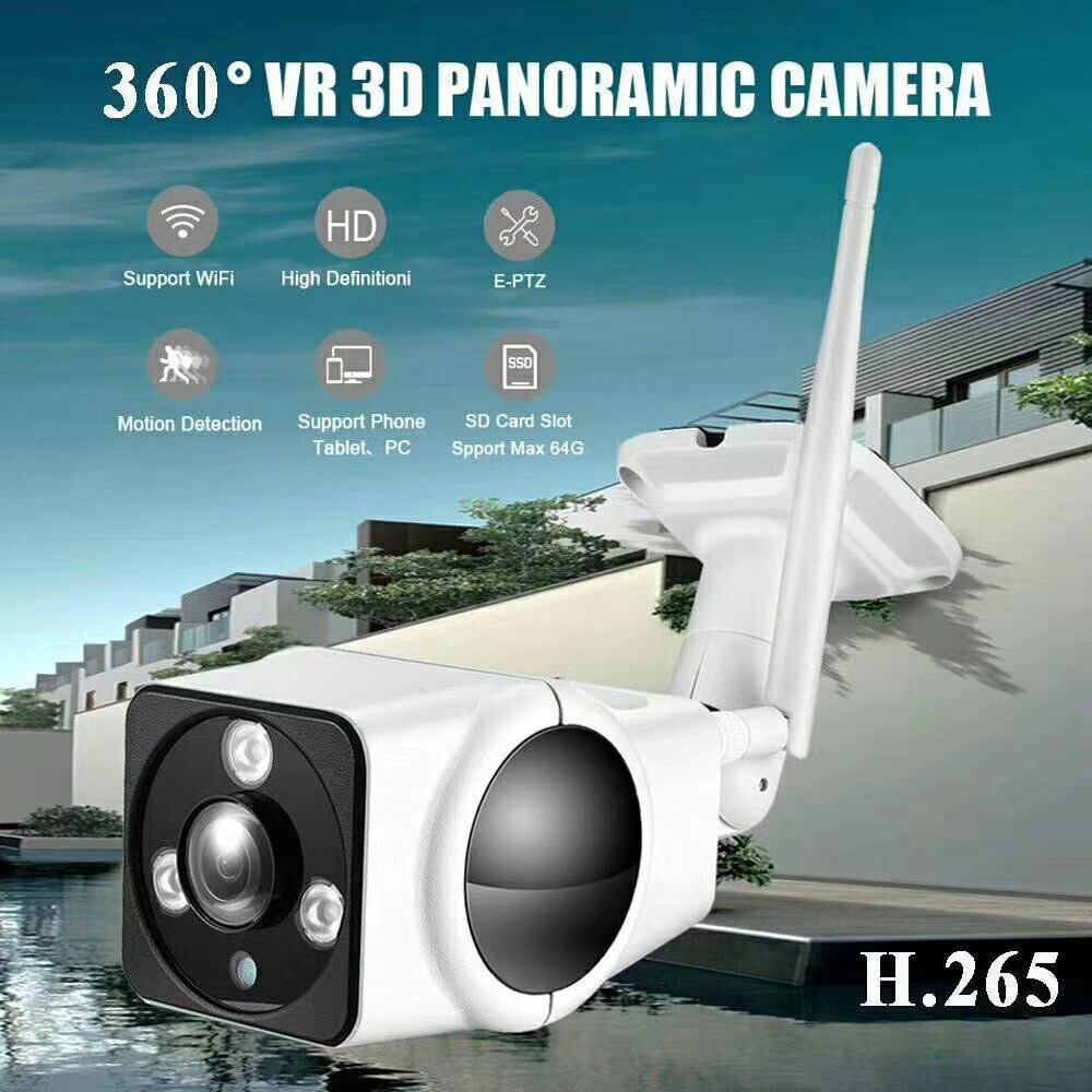 IP Camera Onvif Fisheye 360 Degree View 1080P Wifi Audio Security Wireless CCTV wifi bullet IR Camera-APP V380 стоимость
