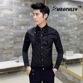 MAUCHELY 2017 New Spring Male Korean Beaded Long Sleeved Shirt Slim Fashion Sequins Decoration For Wedding And Party Fit Groomsm