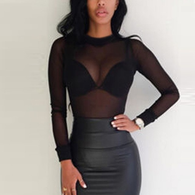 2018 Sexy Women Blouses See Through Transparent Mesh Stand Neck Long Sleeve Sheer Blouse Shirt Ladies Tops Tee Plus Size