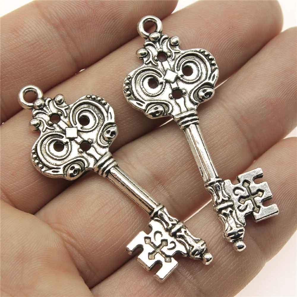 WYSIWYG 4pcs 51*20mm key Pendants Charms Findings Jewellery Making Findings for DIY Craft