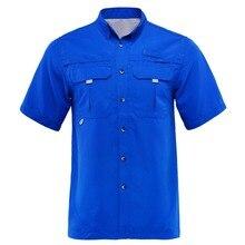 Летняя мужская рубашка для рыбалки, уличная рубашка, одежда для рыбалки, мужские походные рубашки, быстросохнущая UPF40+ УФ футболка, плюс размер США, M-XXL, camisa