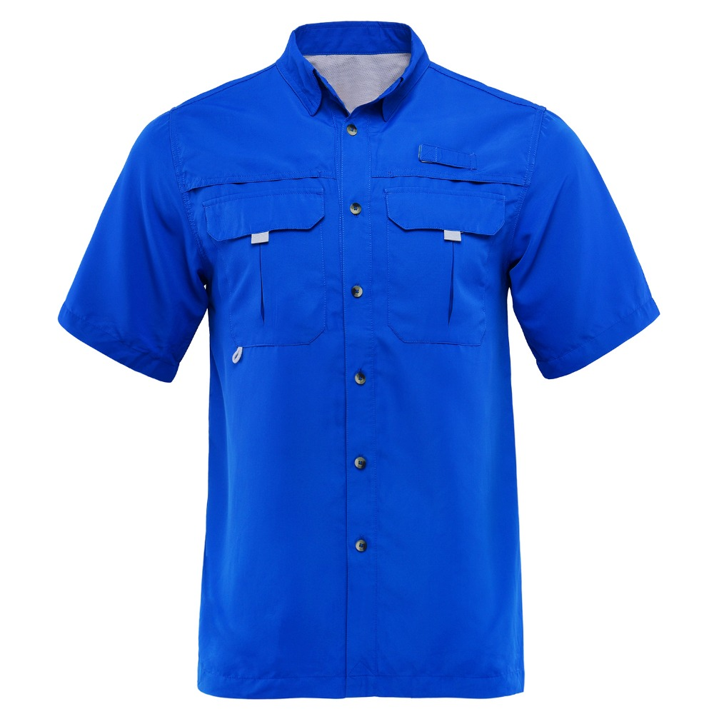 Men Vented Long Sleeve Fishing Shirt Quick Dry Hiking Fishing Sport Tops Anti-UV