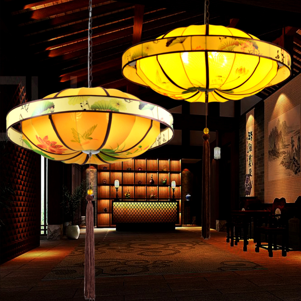 Chinese style cloth pendant lamps Handmade Classical Tea House Study restaurant lighting pendant lights ZL200|pendant lamp|pendant lights|light pendant - title=