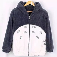 2018 New Totoro Autumn Winter Hoodie Sweatshirt Kawaii Coat Cosplay Fleece Overcoat With Ears Harajuku Cute Jackets Christmas