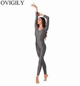 Image 4 - OVIGILY Womens Spandex Lycra Gymnastics Unitard Adults Royal Blue Long Sleeve Full Body Suits Exercise Unitards Scoop Neckline
