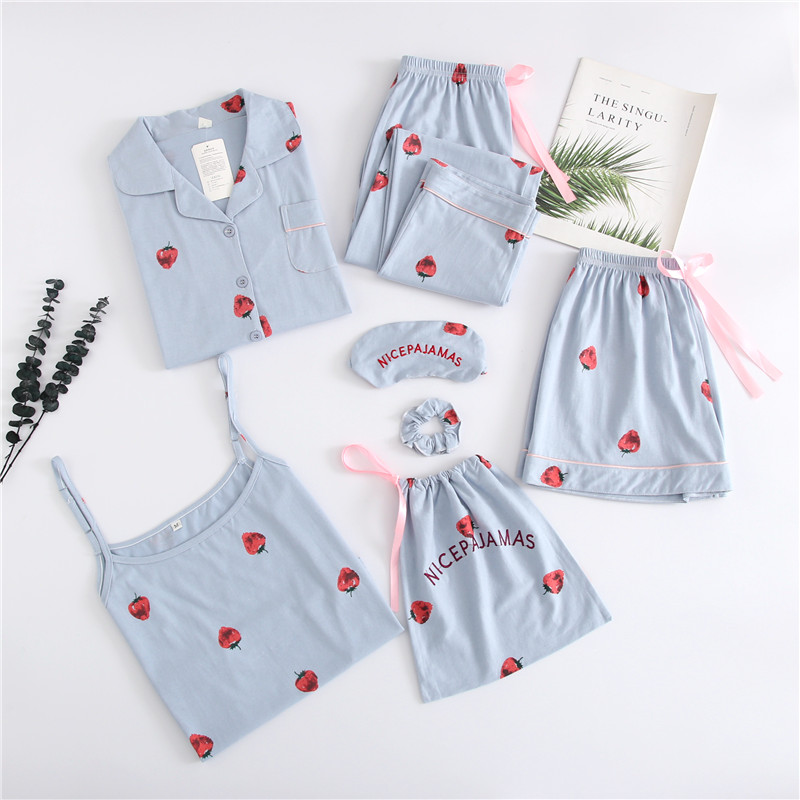 Spring Summer Autumn 7 Pcs Set Cotton Elegant Women Pajamas Shorts Long Sleeve Top Elastic Waist Pants Sleepwear With Chest Pad