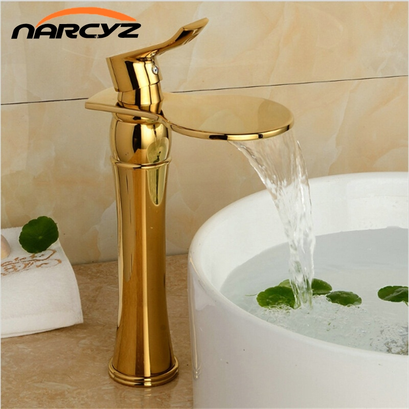 Basin Faucet Gold Plating Bathroom Basin Faucet Hot and Cold Art Contemporary Brass Mixer Tap Waterfall